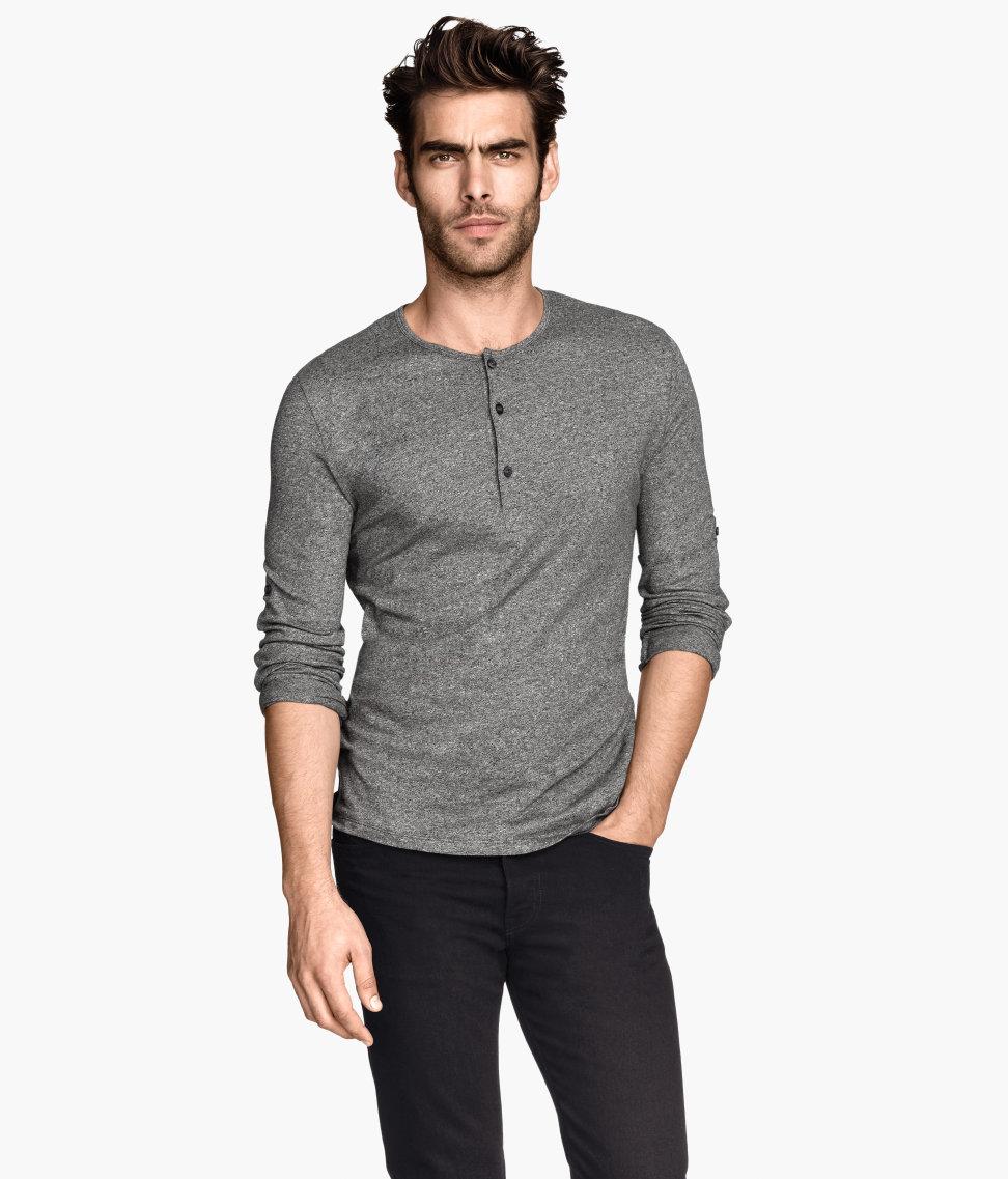 Jon kortajarena models h m fall winter 2014 collection for H m mens henley t shirt long sleeve