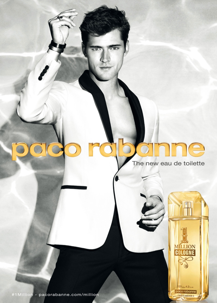 Sean O'Pry photographed for Paco Rabanne 1 Million Cologne Campaign